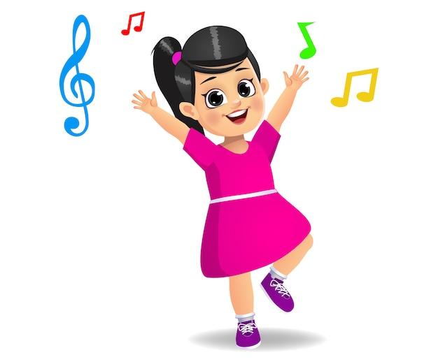 Jolie fille dansant sur de la musique