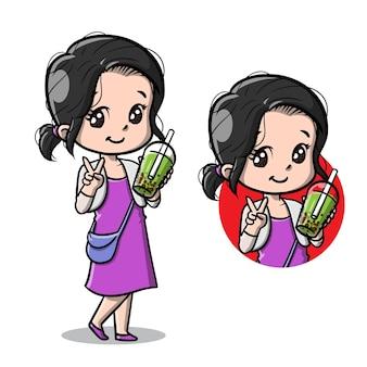 Jolie fille avec dessin animé bubble boba tea