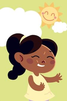 Jolie fille avec dessin animé de caractère cheveux queue de cheval, illustration enfants