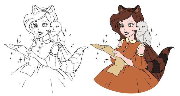 Jolie fille de dessin animé avec un hibou adorable. fille avec oreilles de raton laveur et queue lisant la lettre.