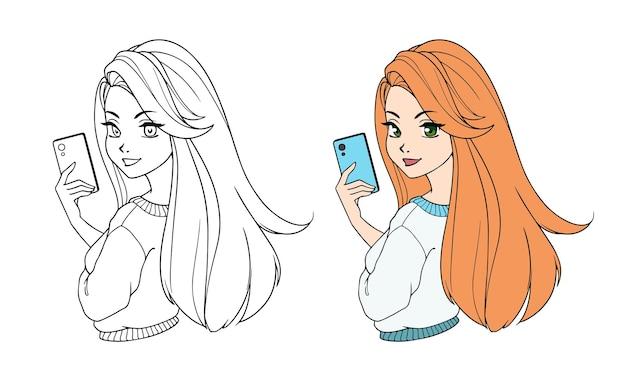 Jolie fille de dessin animé avec de longs cheveux roux prenant selfie et portant une chemise blanche.