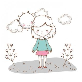 Jolie fille dessin animé tenue élégante nature ensoleillée