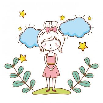 Jolie fille dessin animé tenue élégante robe couronne florale