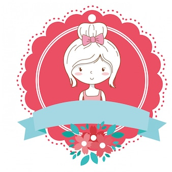 Jolie fille dessin animé tenue élégante robe portrait floral floraison cadre