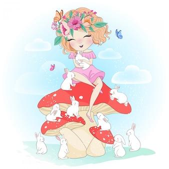 Jolie fille dessinée avec lapin à la main