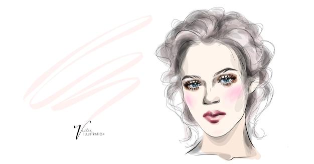 Jolie fille avec du maquillage sur le visage et un style volumétrique
