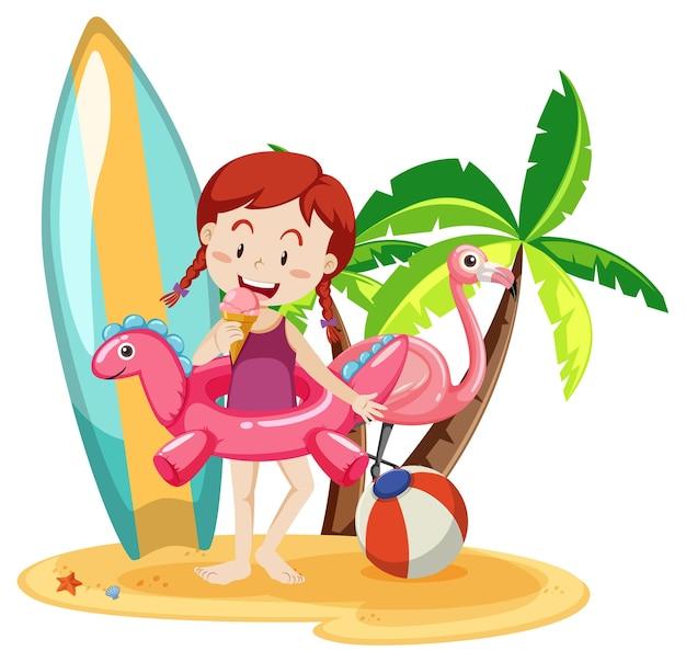 Jolie fille avec des éléments de plage d'été isolés sur blanc