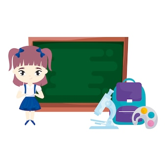Jolie fille étudiante avec école et fournitures scolaires