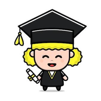 Jolie fille étudiante heureuse graduation vector illustration