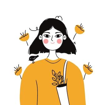 Jolie fille étudiante avec sac écologique et fleur sur fond blanc