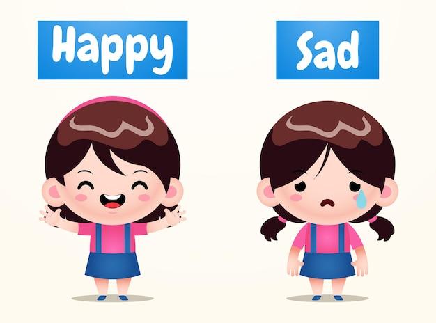 Jolie fille en face des mots pour heureux et triste