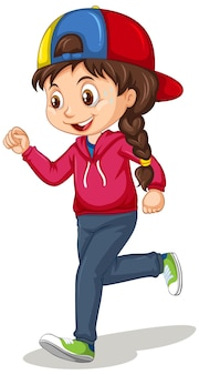 Jolie fille faisant courir le personnage de dessin animé d'exercice isolé