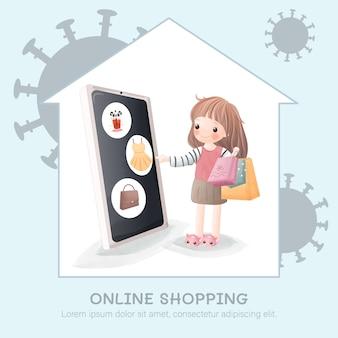 La jolie fille fait des achats en ligne à son domicile à cause de l'épidémie de covid-19.