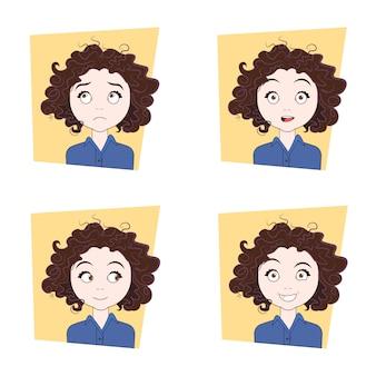 Jolie fille frisée avec différentes émotions du visage ensemble d'expressions de visage de jeune femme