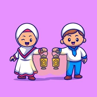 Jolie fille et garçon musulman apportent l'illustration de l'icône de vecteur de dessin animé de lampe lanterne. concept d'icône de religion de personnes isolé vecteur premium. style de dessin animé plat
