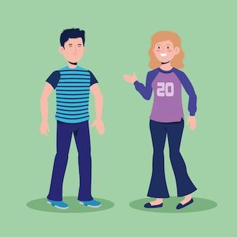 Jolie fille et garçon parlant avec des vêtements décontractés