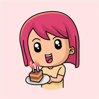 Jolie fille avec un gâteau sur la caricature de joyeux anniversaire