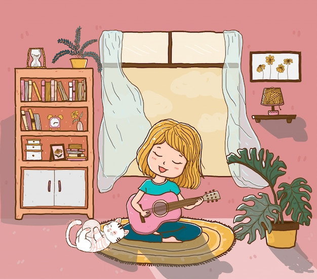 Jolie fille heureuse joue de la guitare avec un chat moelleux ludique dans le salon éclairé par le soleil, contour doodle dessin plat