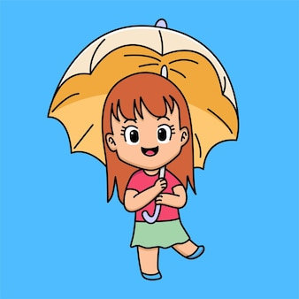 Jolie fille avec illustration de dessin animé parapluie
