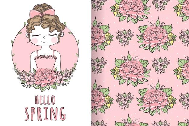 Jolie fille avec illustration et motif dessinés à la main de fleur