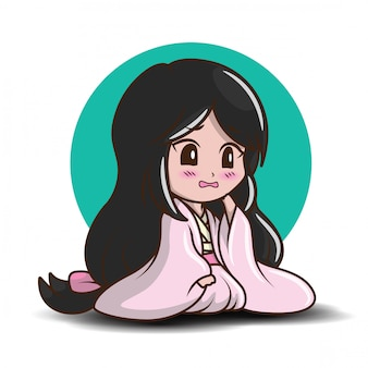 Jolie fille japonaise en costume de princesse.