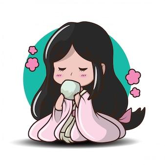 Jolie fille japonaise en illustration de costume de princesse