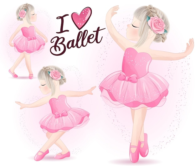 Jolie fille avec jeu d'illustration aquarelle ballerine