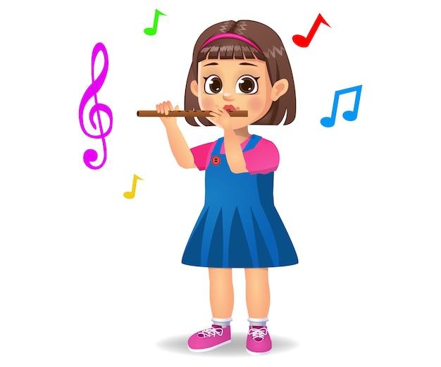 Jolie fille jouant de la flûte isolé sur blanc