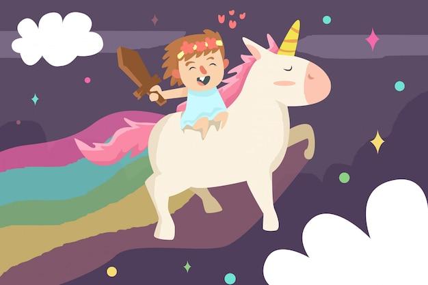 Jolie fille avec licorne sur l'illustration arc-en-ciel