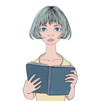 Jolie fille lisant un livre .. portrait de jeune femme. illustration, sur fond blanc.