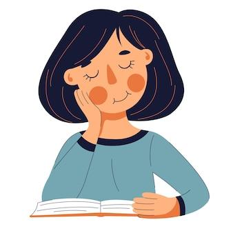 Jolie fille lisant un livre et souriant