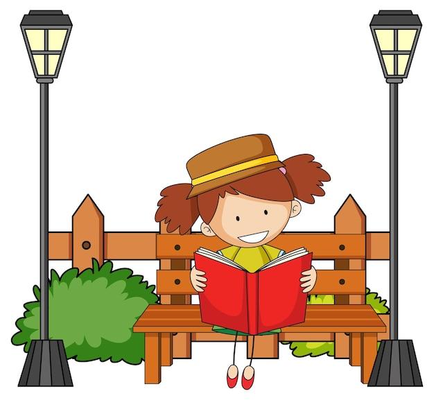 Jolie fille lisant un personnage de dessin animé de doodle avec des éléments de parc