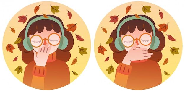 Une jolie fille à lunettes et des écouteurs chauds pratique la respiration. personnage isolé illustrant deux positions des mains lors de l'exécution du pranayama. thème d'automne.