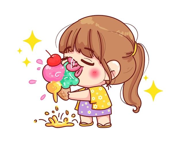 Jolie fille mange une illustration de dessin animé de crème glacée