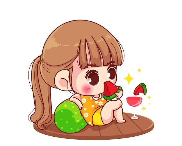 Jolie fille mangeant de la pastèque. illustration de dessin animé
