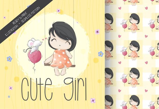 Jolie fille mignonne de dessin animé avec modèle sans couture de souris bébé