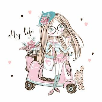 Jolie fille à la mode dans un béret avec son scooter. vecteur.