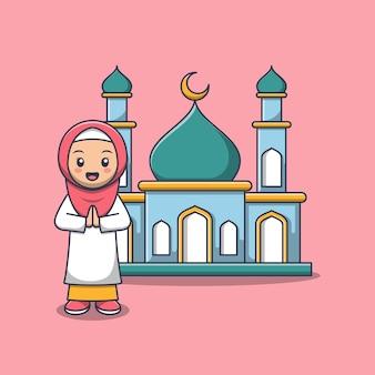 Jolie fille musulmane avec mosquée