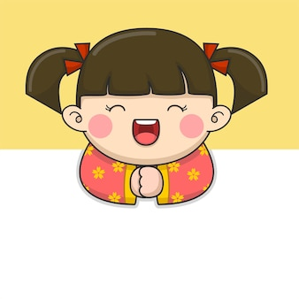 Jolie fille de nouvel an chinois aux cheveux attachés