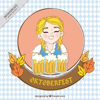 Jolie fille de oktoberfest fond du festival