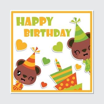 Jolie fille ours et caricature de cadre de gâteau d'anniversaire