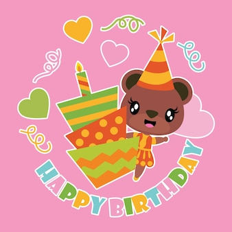 Jolie fille ours et dessin animé de gâteau d'anniversaire
