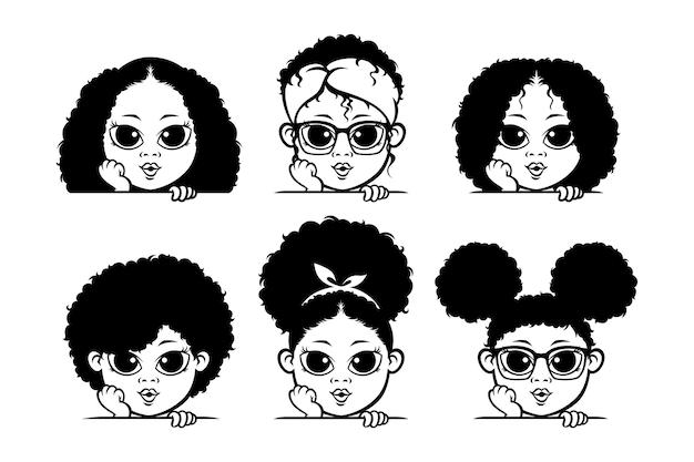 Jolie fille peekaboo aux cheveux afro bouffants
