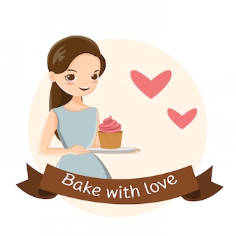 Jolie fille et petit gâteau