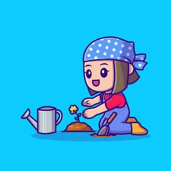 Jolie fille, plantation de cultures icône illustration de dessin animé. concept d'icône personnes nature isolé. style de bande dessinée plat