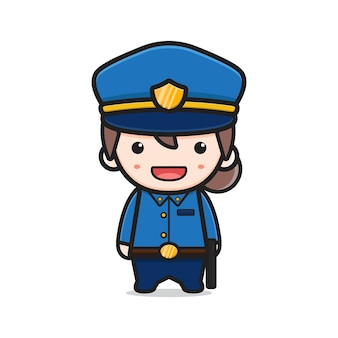 Jolie fille police dessin animé icône illustration vectorielle. concevoir un style cartoon plat isolé