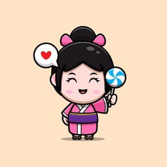 Jolie fille portant une robe kimono aime l'illustration de dessin animé de bonbons sucette