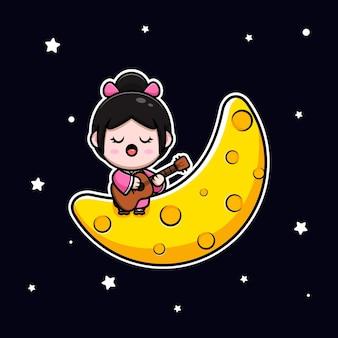 Jolie fille portant une robe kimono jouant de la guitare et chantant sur l'illustration de dessin animé de la lune