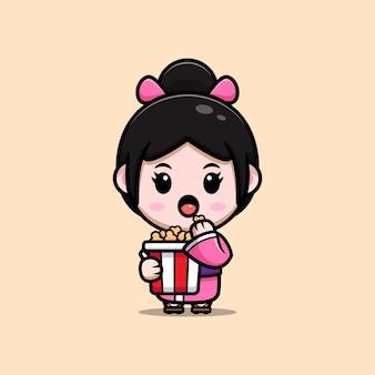 Jolie fille portant une robe kimono mangeant une illustration de dessin animé de pop-corn