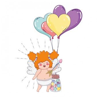 Jolie fille potelée cupidon avec des ballons en forme de cœur hélium